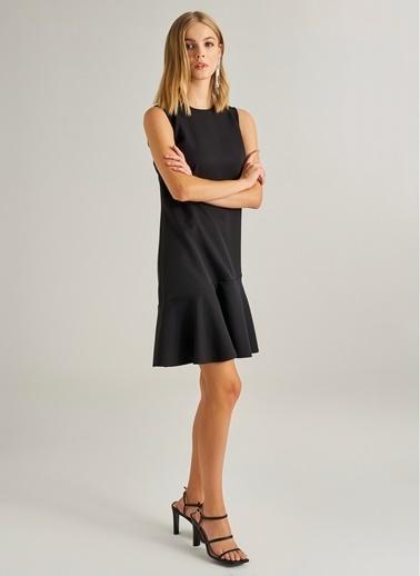 Monamoda Volanlı Mini Elbise Siyah